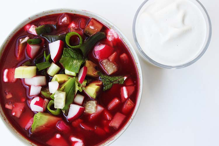 Cold beet soup with avocado