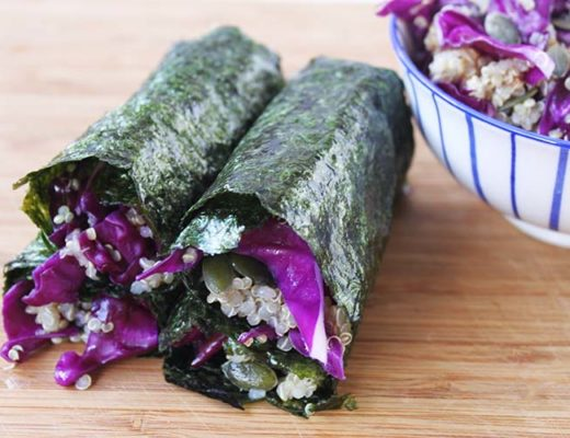 red cabbage sushi rolls
