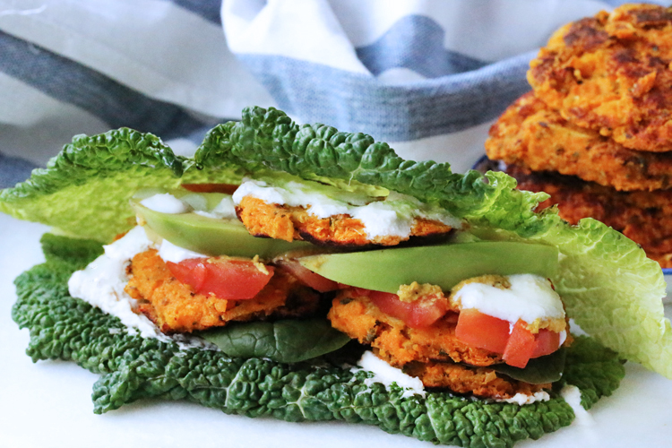 Sweet potato veggie bean burger