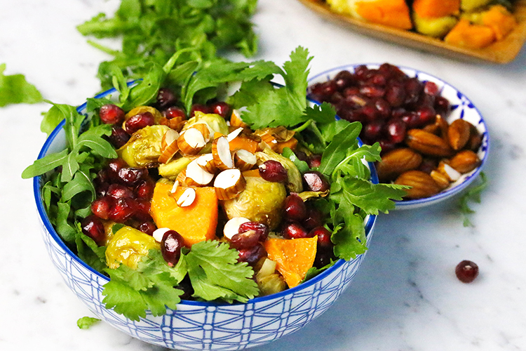 Green Salad with Roasted vegetables and Soaked Almonds