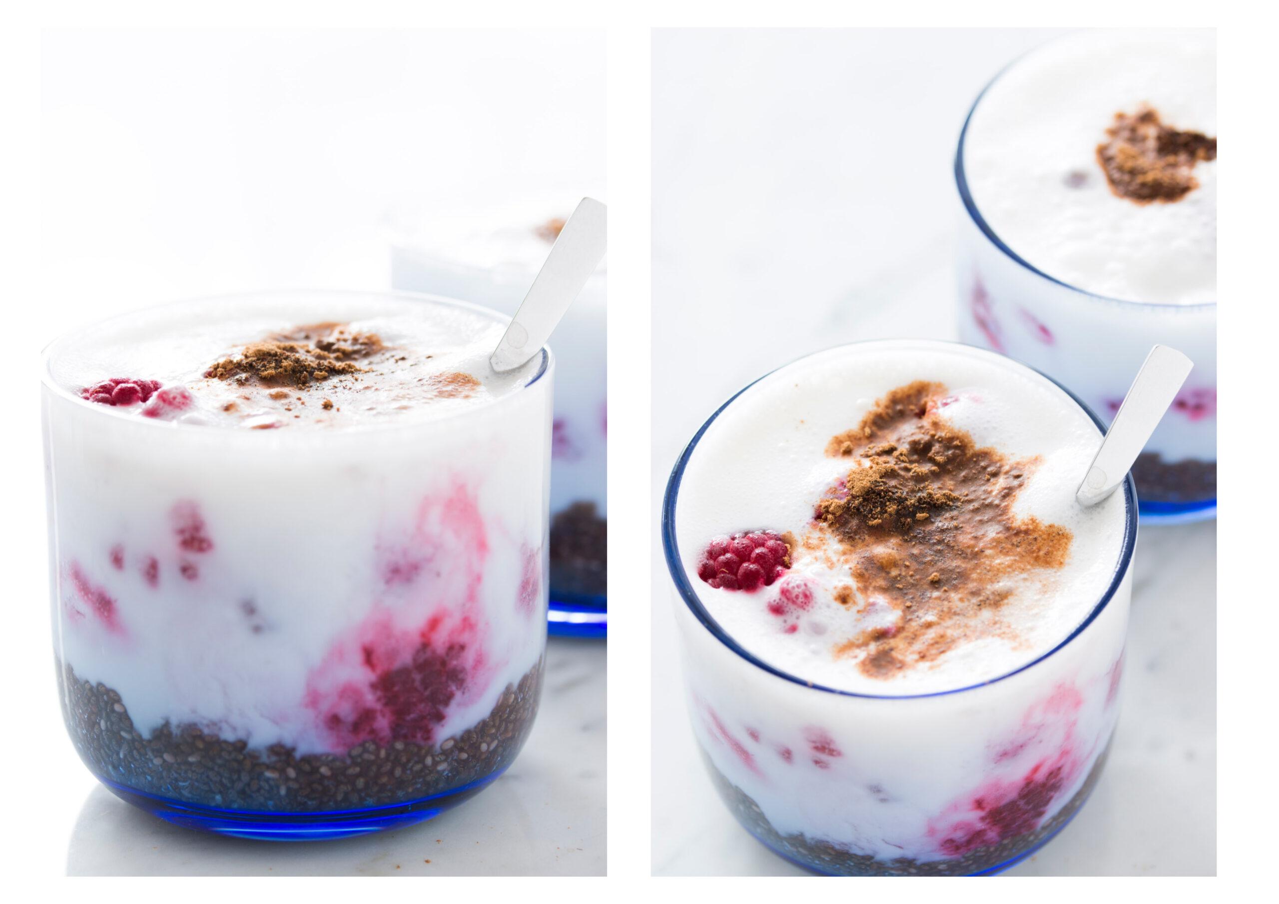 smooth raspberry chia seed pudding