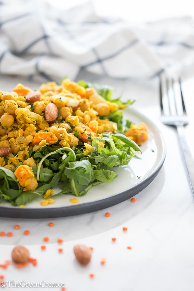 Quick Curried Lentils with carrots and chickpeas