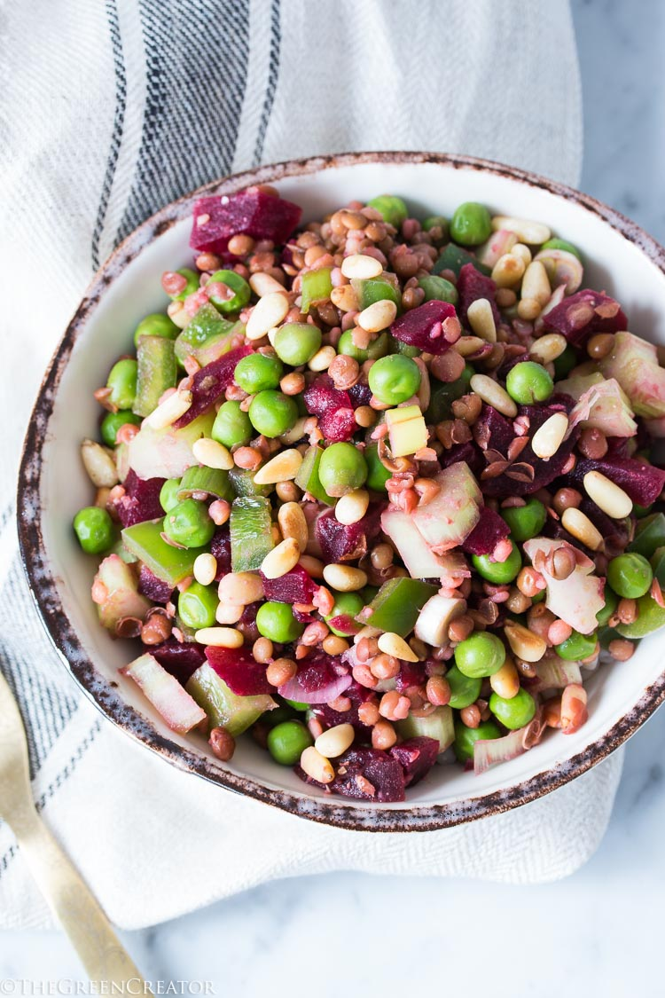 Lentil Salad with Beets and Pine nuts