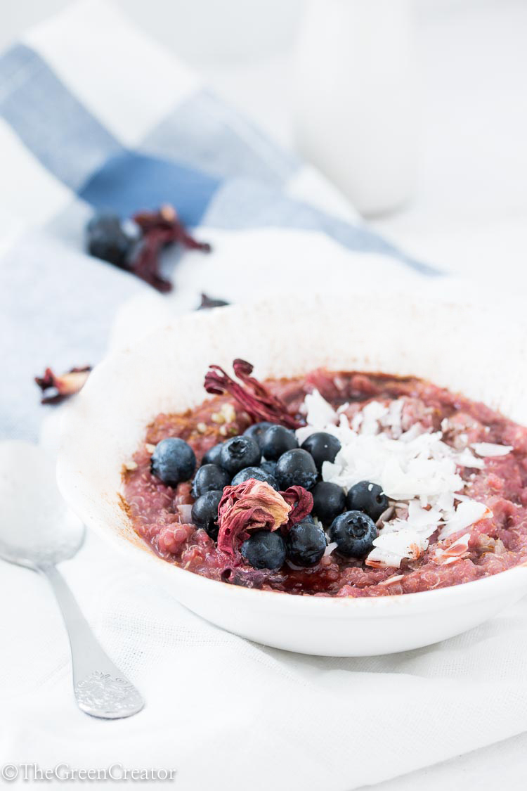 Hibiscus infused chai quinoa porridge