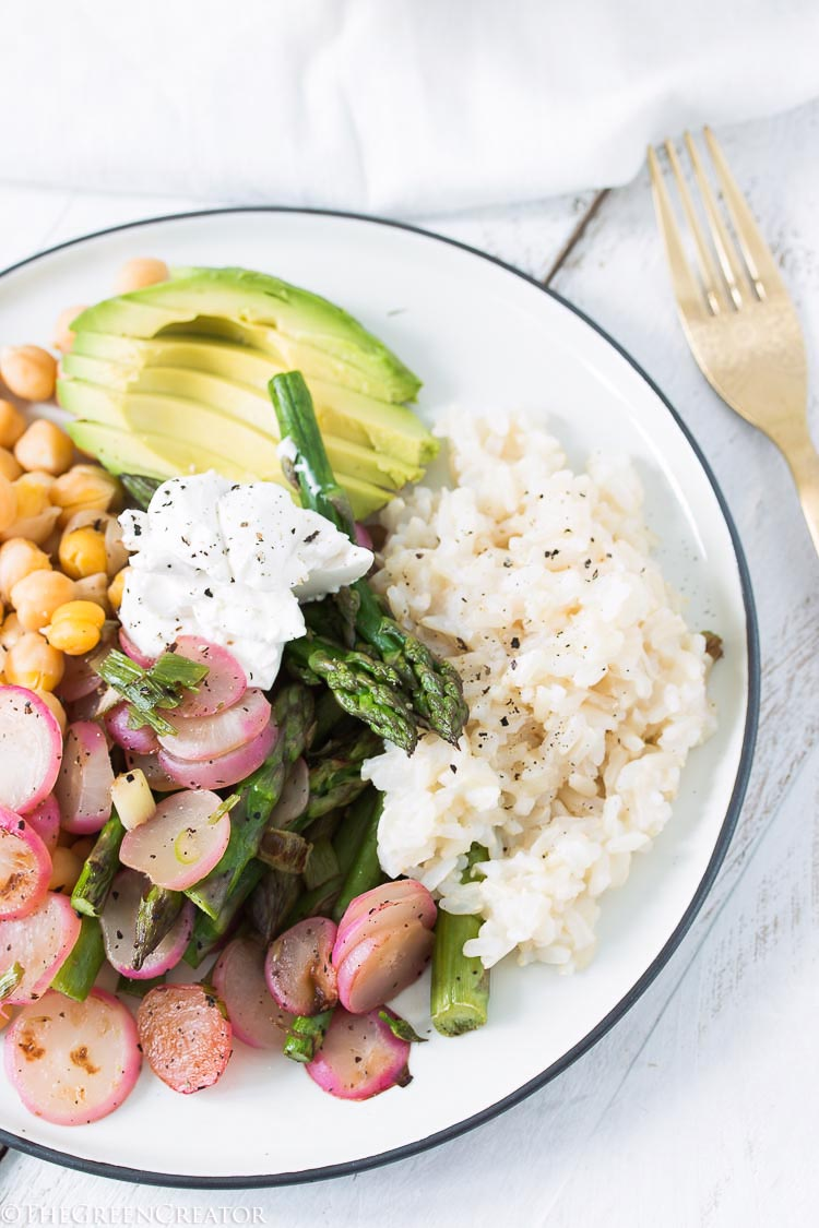 Roasted radishes with garlicky chickpeas and almond cheese
