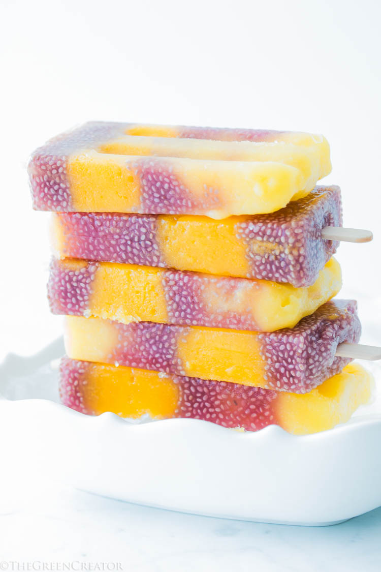3 Ingredient Mango Hibiscus Popsicles