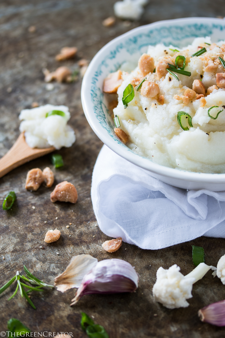 Cauliflower Parsnip Mash with Roasted Garlic
