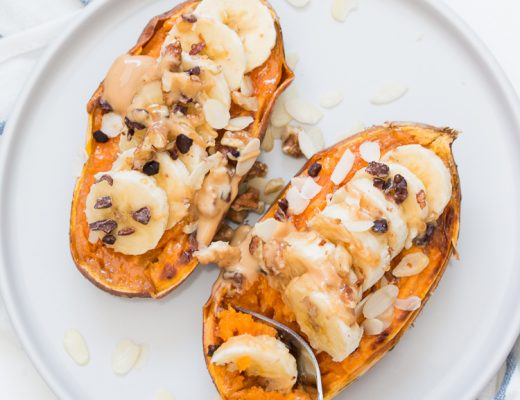 Sweet Potato Boats on white plate with fork