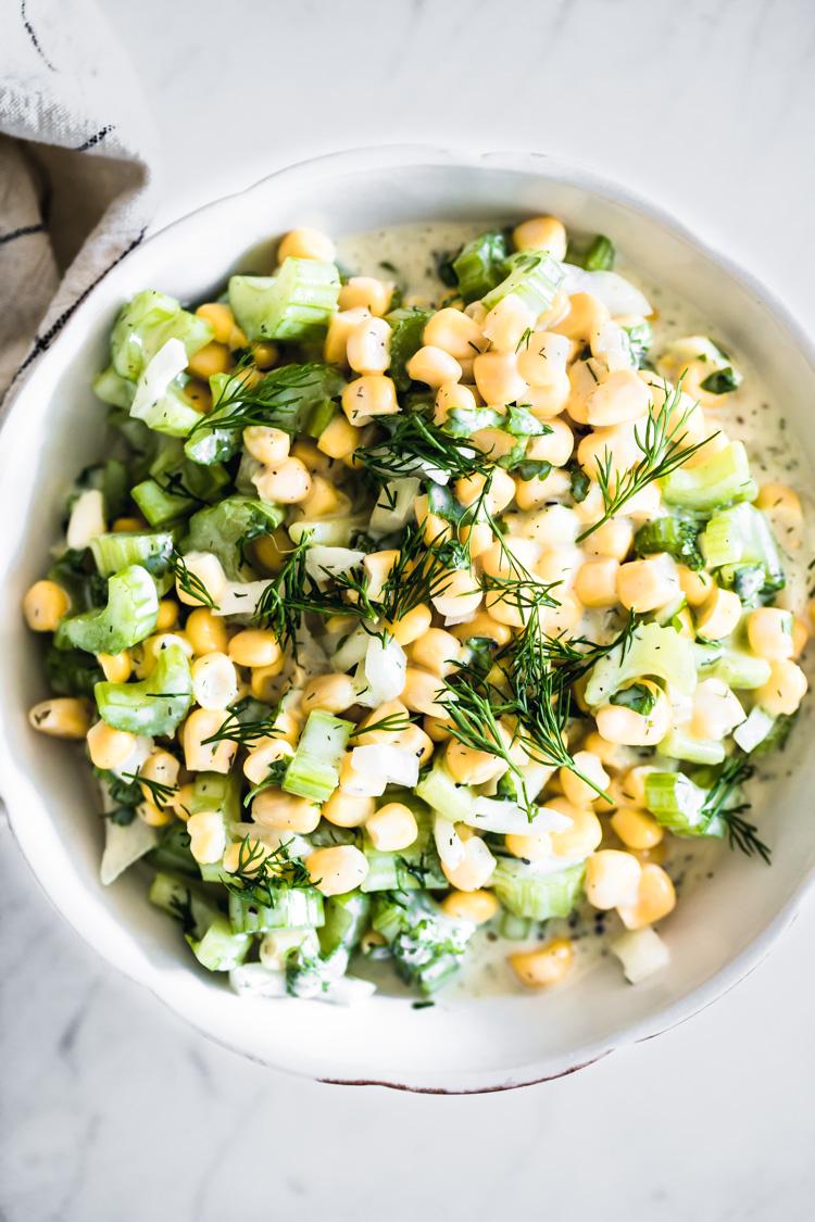 Corn Celery Salad with Dill and Vegan Yogurt Sauce