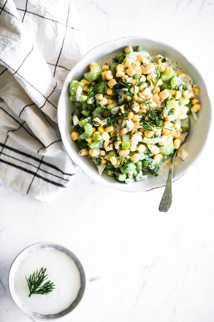 Corn Celery Salad with Dill and Vegan Yogurt Sauce