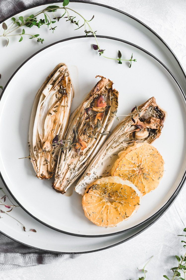 Roasted Andive with Orange and Garlic