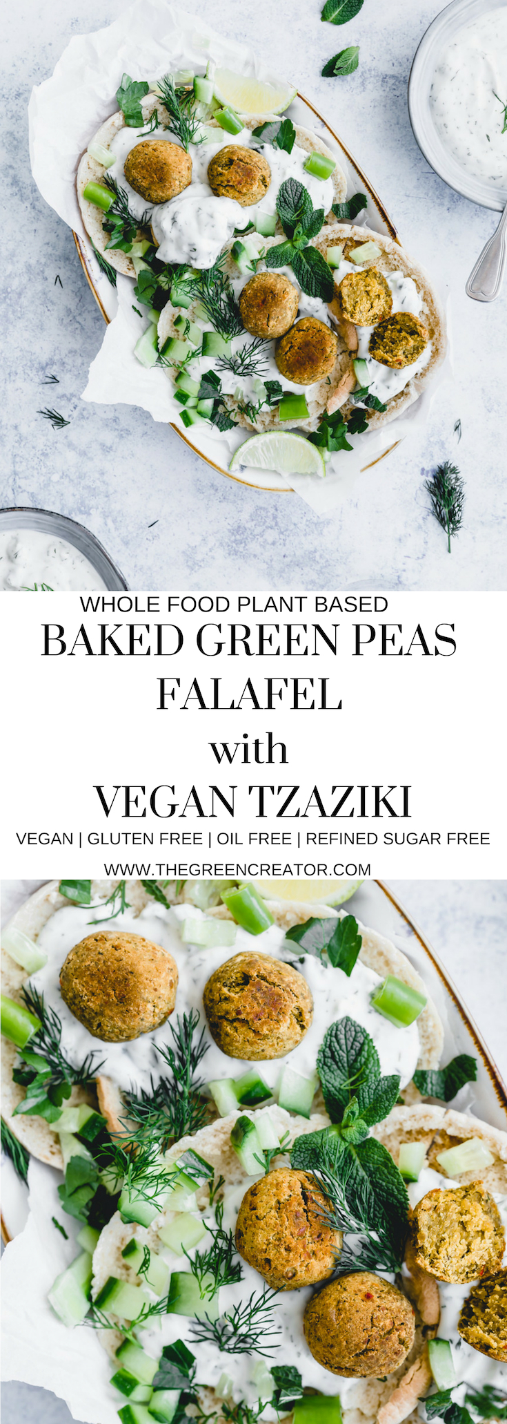 Baked Green Peas Falafel with Vegan Tzatziki