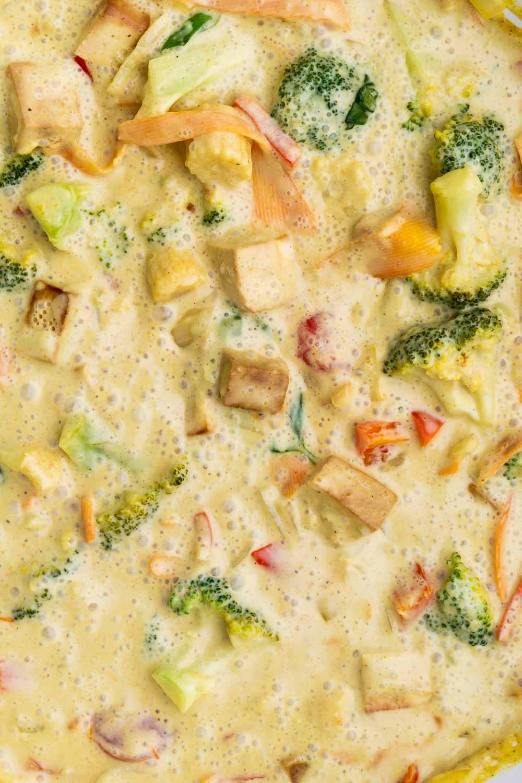 Close up green curry tofu