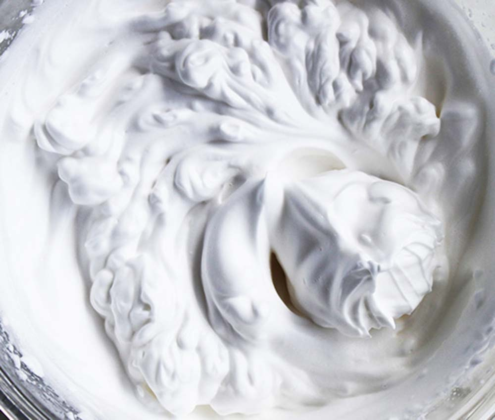 white foamy aquafaba close up