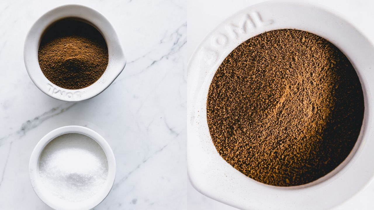 coffee substitute and xylitol in small white bowls