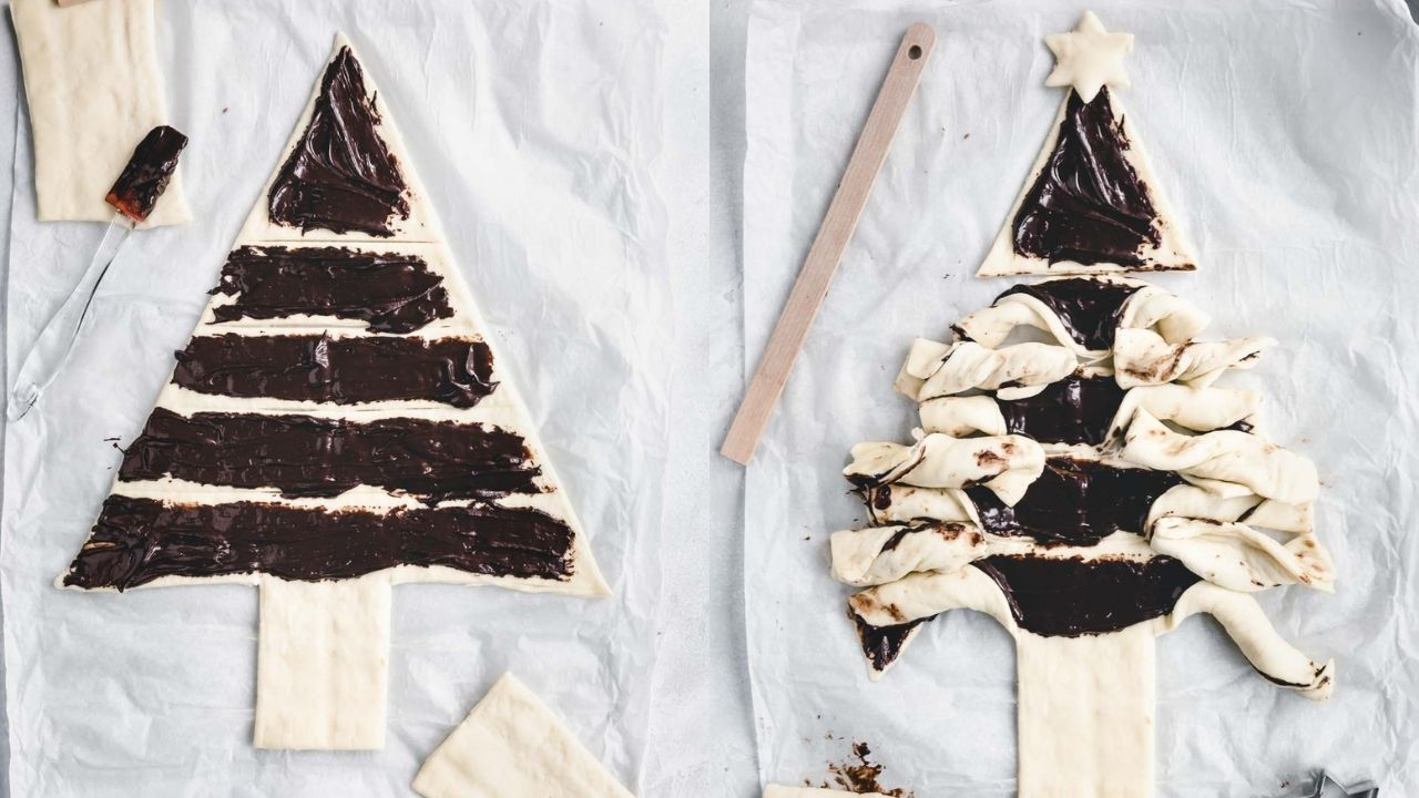 puff pastry christmas tree with chocolate paste on it