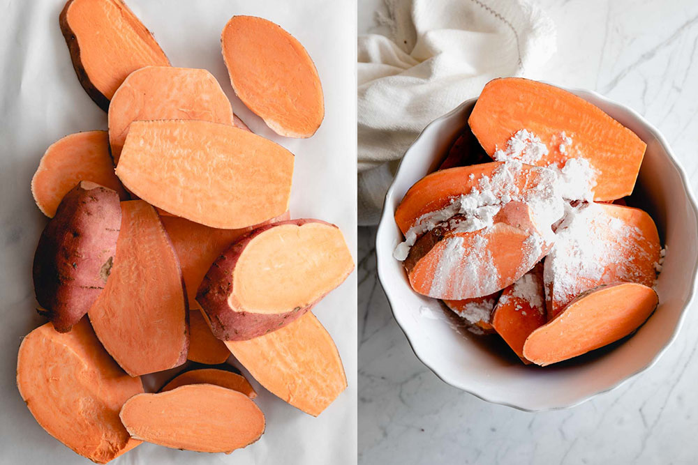 sliced raw sweet potato slices on a white paper and sliced sweet potatoes in a white bowl with cornstarch