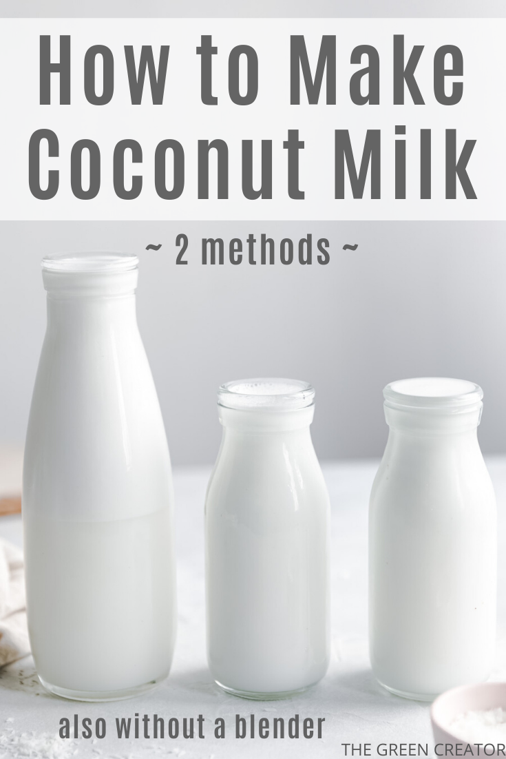 This Coconut Milk is made with only 2 ingredients and 10 minutes! The most delicious non-dairy coconut milk. This milk is creamy and slightly sweet. This vegan & gluten-free recipe is perfect for in soups, stews, porridges, baked goods, ice cream- and curry recipes or as a drink | thegreencreator.com
