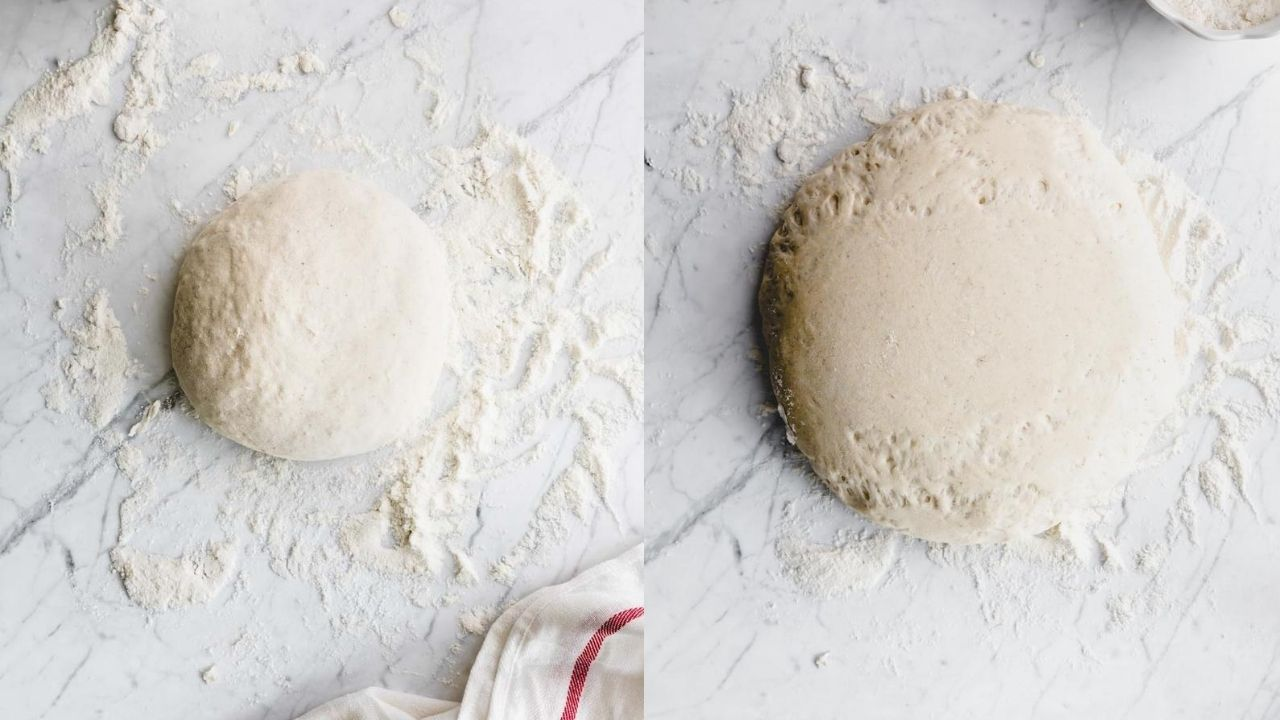 round dinner rolls dough on a white backdrop with flour next to round dinner rolls dough on a white backdrop doubled in size