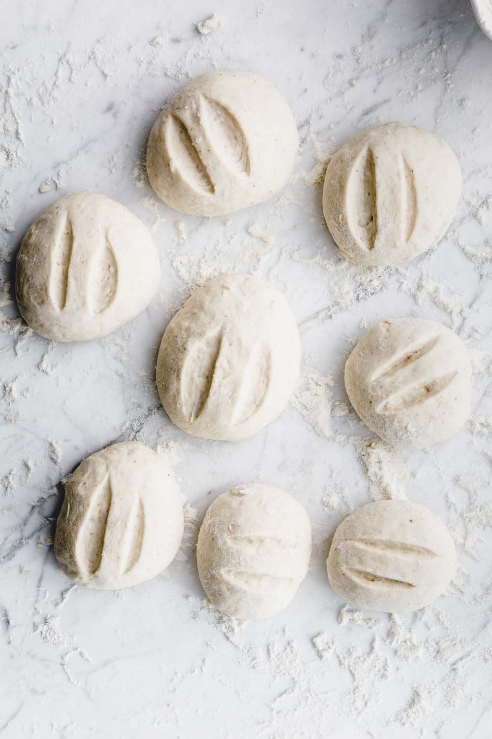 eight round dinner rolls dough on a white backdrop with flour with two cuts in each dinner roll
