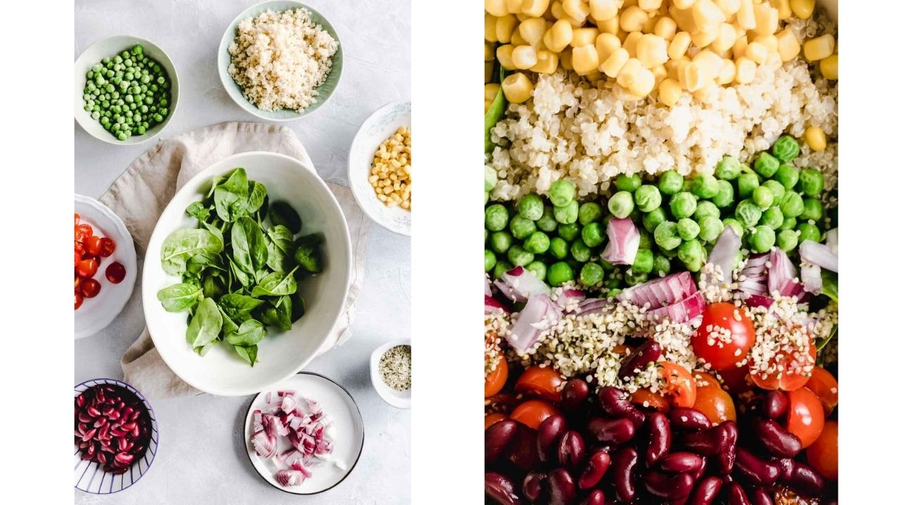 Ingredients for the quinoa summer salad on a light backdrop.