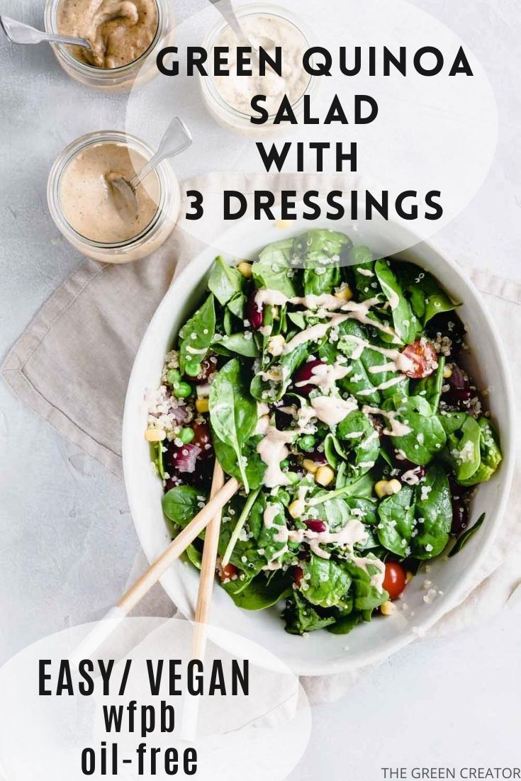 Quinoa salad in oval bowl with chopstick on a lightbrown napkin and a light backdrop next to a small jar of dressing with a teaspoon with text for Pinterest.