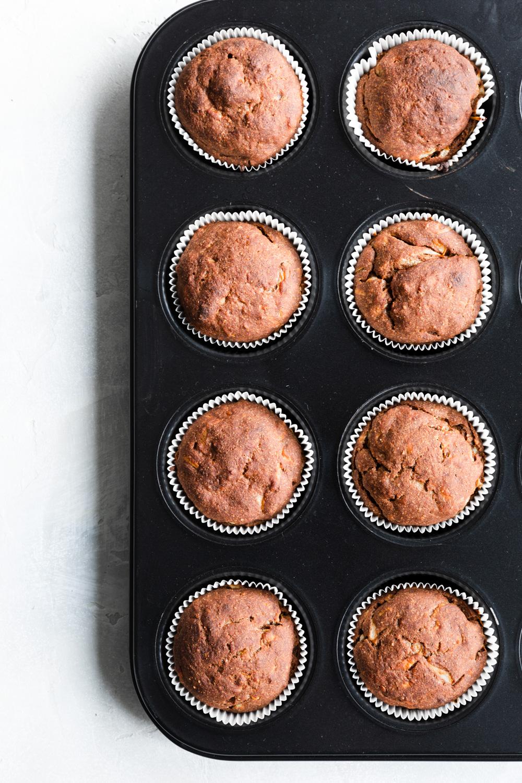 Zucchini Muffins in black muffin tin