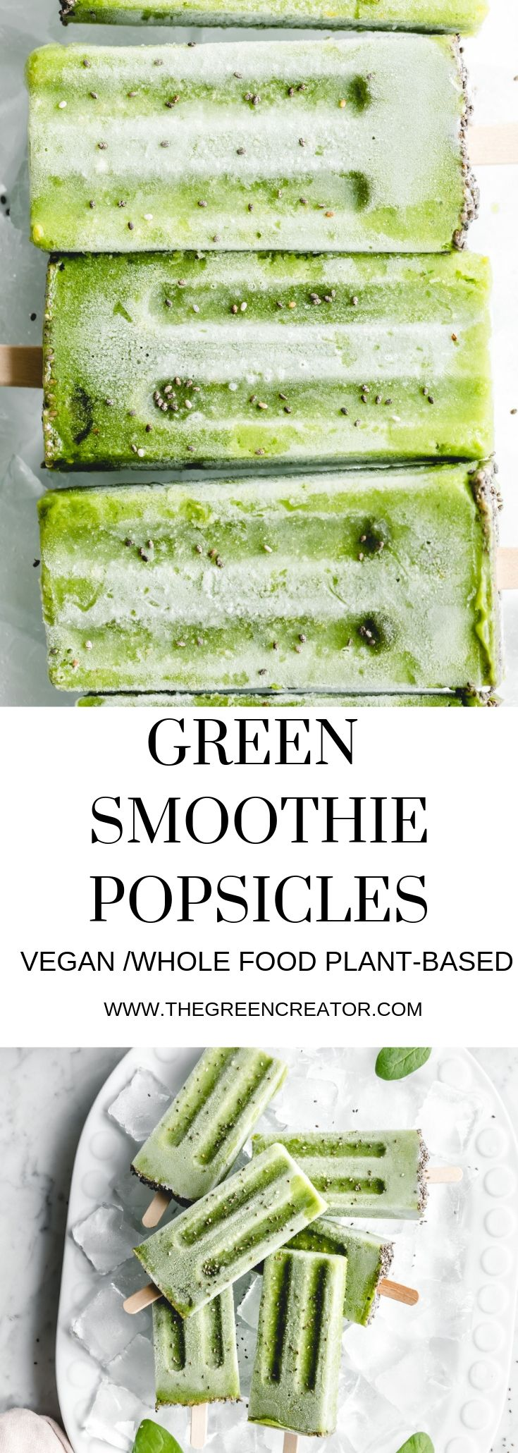 green popsicles close up and on plate