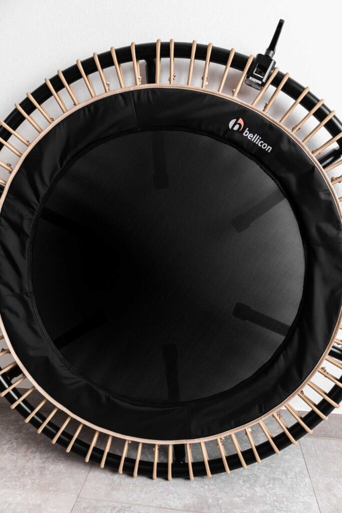 black bellicon rebounder with beige bungees