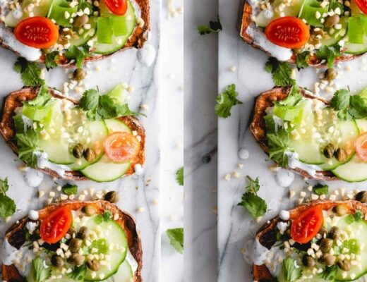 sweet potato toast with toppings on a marble white backdrop