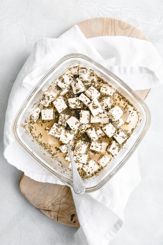 vegan feta cheese ingredients on a white napkin