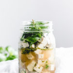 feta cheese in glass jar